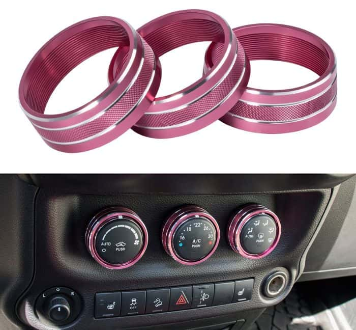 Top pink Jeep accessories - includes covers for your AC, radio and others.