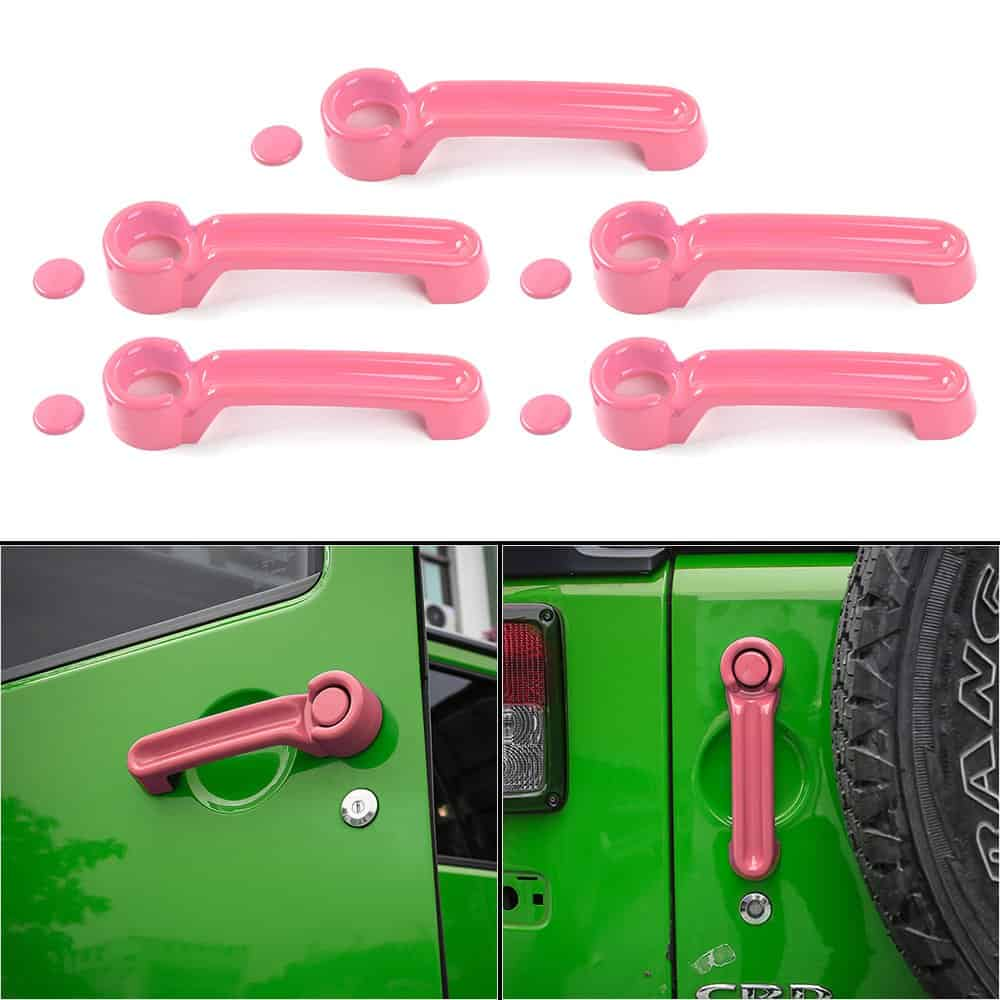 Pink Jeep door handles & covers: these are great!
